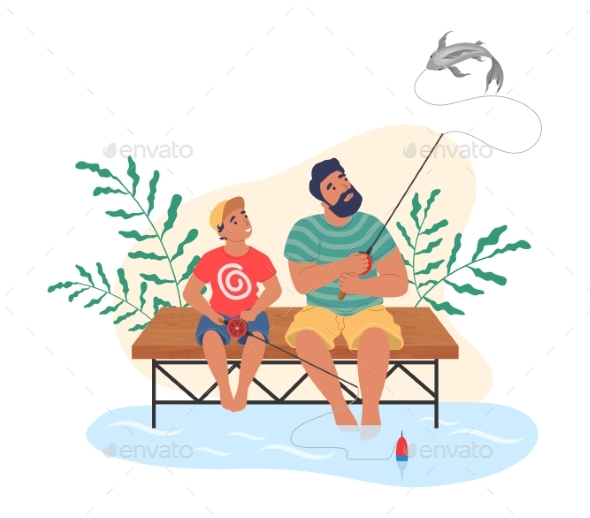 Happy Father and Son Fishing Together Flat Vector