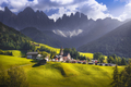 Dolomites Alps, Santa Magdalena view and Odle mountains in Funes Valley, Italy. - PhotoDune Item for Sale