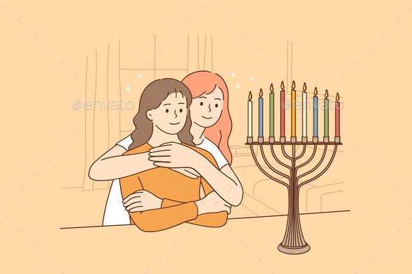 Celebrating Holy Hanukkah Holiday Concept