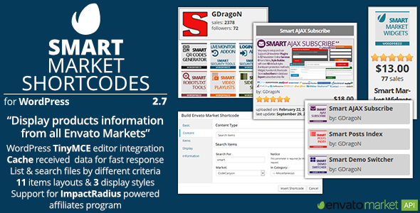 Smart Market Shortcodes - Plugin for WordPress and Envato Market