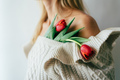 Close-up of tulips heads decorate the female body. - PhotoDune Item for Sale