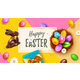 Festive Yellow Happy Easter Blue Horizontal Web - GraphicRiver Item for Sale