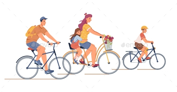 Family Riding on Bicycles