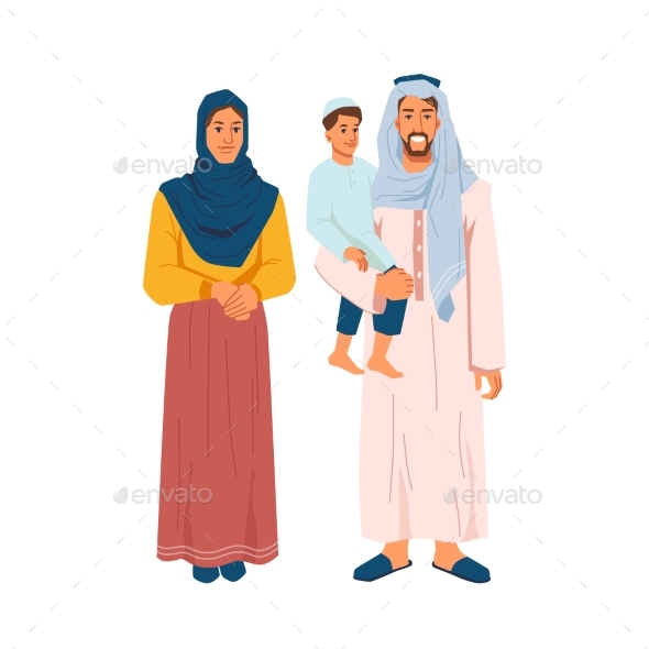 Muslim Family Mother Father and Son Isolated