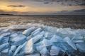 drifting ice on Ijsselmeer coast in winter - PhotoDune Item for Sale