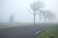 countryside road by windmill on foggy morning - PhotoDune Item for Sale