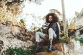 Beautiful Afro girl on street stairs - PhotoDune Item for Sale