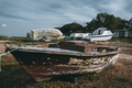 Fishing boat with a cabin on a pier - PhotoDune Item for Sale