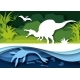 Paper Cut Dino Silhouettes and Nature Landscape - GraphicRiver Item for Sale