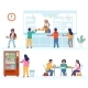 School Canteen Cafeteria Cafe Scene Set Flat - GraphicRiver Item for Sale