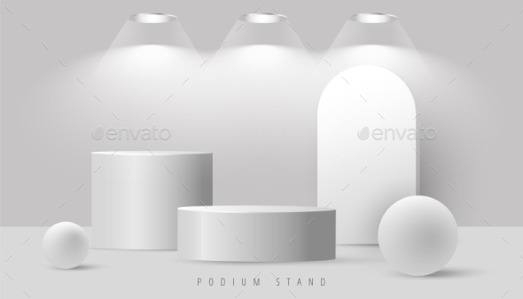 Minimal Abstract Mock Up Scene with Podium or
