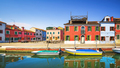Burano island canal, colorful houses and boats in the Venice lagoon. Italy - PhotoDune Item for Sale