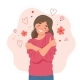 Love Yourself Concept Woman Hugging Herself - GraphicRiver Item for Sale