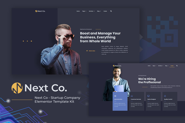 Next Co – Startup Company Elementor Template Kit, Gobase64