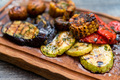 Various tasty grilled vegetables and mushrooms on rustic background - PhotoDune Item for Sale