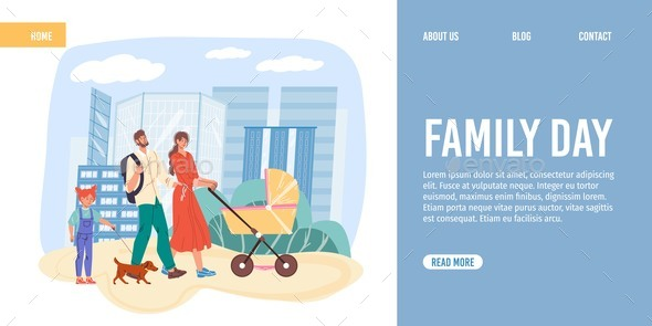 Flat Cartoon Family Characters with Baby Carriage