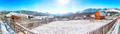 Fantastic winter landscape with wooden houses in snowy mountains. - PhotoDune Item for Sale