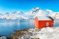 Captivating winter view of  fishing village on Sundstraumen strait - PhotoDune Item for Sale