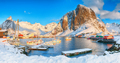 Astonishing winter view on Hamnoy village with port and snowy  mountain peaks  on background. - PhotoDune Item for Sale