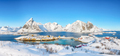 Fabulous winter view of Sakrisoy village and snowy mountaines on background. - PhotoDune Item for Sale