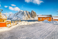 Astonishing winter view of Sakrisoy village and snowy mountaines on background. - PhotoDune Item for Sale