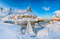 Splendid winter sunny view on Hammarskaftet Mountain Peak with footbridge above Gravdalbukta bay - PhotoDune Item for Sale