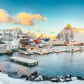 Fantastic winter view on Hamnoy village with port and  Olstinden peak on background. - PhotoDune Item for Sale
