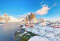 Astonishing winter view on Hamnoy village and Festhaeltinden mountain on background. - PhotoDune Item for Sale