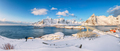 Panoramic winter view on  Reine and Sakrisoya villages  and bridge to Olenilsoya island. - PhotoDune Item for Sale