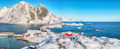 Fabulous winter view of Hamnoy  fishing village and bridge seen from Olenilsoya island - PhotoDune Item for Sale