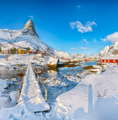 Fabulous winter sunny view on Hammarskaftet Mountain Peak with footbridge above Gravdalbukta bay - PhotoDune Item for Sale