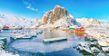 Amazing winter view on Hamnoy village with port and Festhaeltinden mountain on background. - PhotoDune Item for Sale