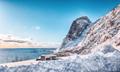 Fabulous winter view of Hamnoy village with Festheltinden peak seen from  Akkarvikodden Reststop - PhotoDune Item for Sale