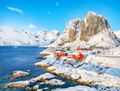 Picturesque winter view on Hamnoy village and Festhaeltinden mountain on background. - PhotoDune Item for Sale