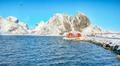 Traditional Norwegian red wooden houses on the shore of  Reinefjorden on Toppoya island - PhotoDune Item for Sale
