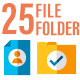 25 Business Files and Folder Flat Icon Set - GraphicRiver Item for Sale