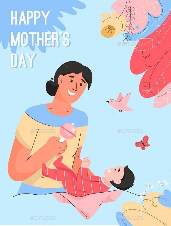 Vector Poster of Happy Mother's Day Concept