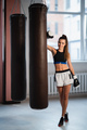 Female fighter trains her punches, training day in the boxing gym, the girl trains a series of - PhotoDune Item for Sale