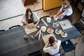 Beautiful young female artist girls creating handmade pottery in modern art studio. Education kids - PhotoDune Item for Sale