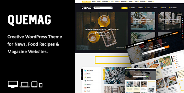 Quemag – Creative WordPress Theme for Bloggers, Gobase64
