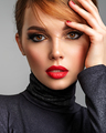 Beautiful brunette girl with red lips and short, slick hair. - PhotoDune Item for Sale