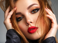 Beautiful girl with red lips and brown hair. - PhotoDune Item for Sale