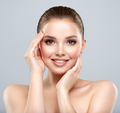 Beautiful face of young smiling woman with clean fresh skin - isolated. - PhotoDune Item for Sale