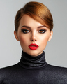 Beautiful girl with red lips and short hair. - PhotoDune Item for Sale