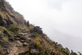 Woman Walking a Path to the Bode of a Foggy Mountain - PhotoDune Item for Sale