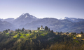 Barga town and Alpi Apuane mountains in winter. Garfagnana, Tuscany, Italy. - PhotoDune Item for Sale