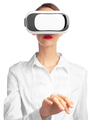 female in white shirt using VR glasses isolated on white background - PhotoDune Item for Sale