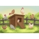 Funny Chickens With Chicken Coop - GraphicRiver Item for Sale