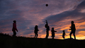 Silhouette of a family playing and having fun outside - PhotoDune Item for Sale