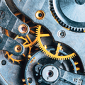 Close-Up Of Old Clock Watch Mechanism. Retro Clockwork Watch With Gearwheels Gears. Vintage Movement - PhotoDune Item for Sale
